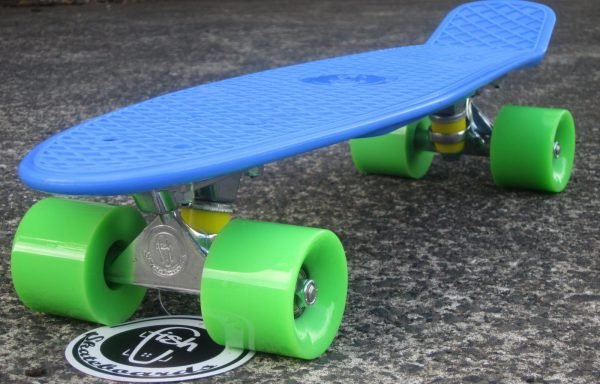 Blue board with green wheels