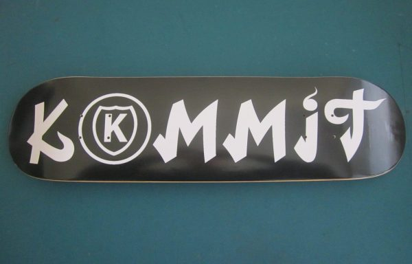 Kommit 7.75 inch black deck white lettering